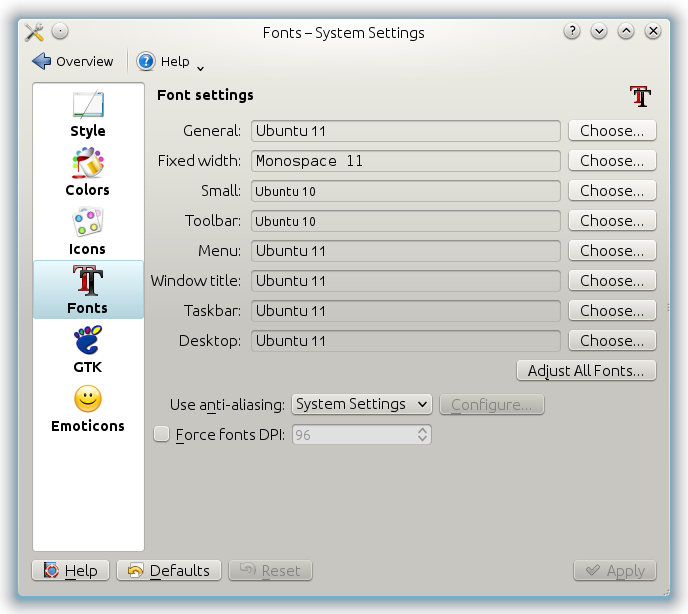 System Settings - Fonts